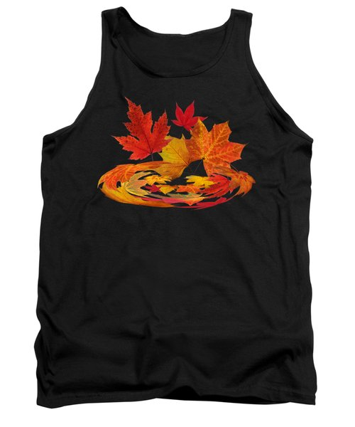 Autumn Winds - Colorful Leaves On Black Tank Top