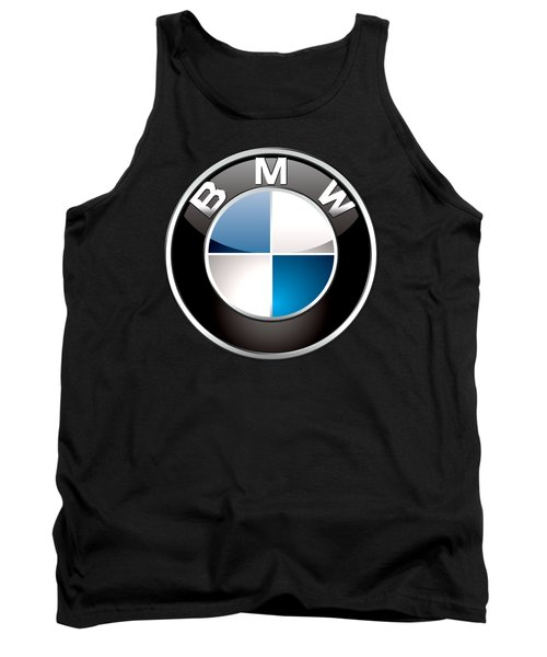 B M W  3 D Badge On Black Tank Top