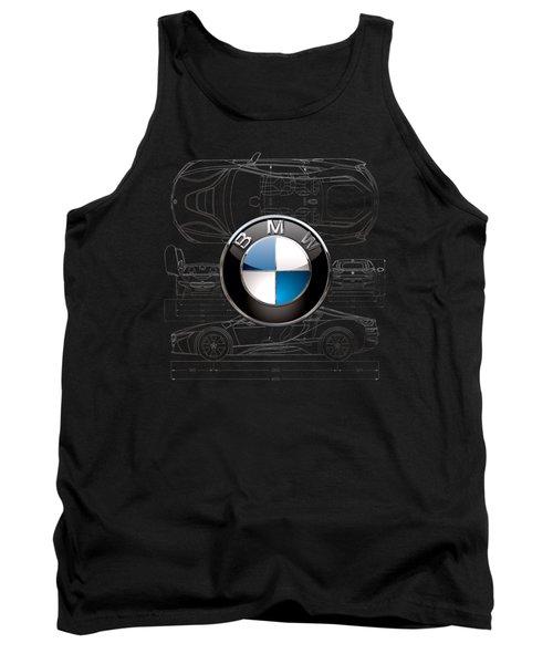 B M W  3 D  Badge Over B M W I8 Silver Blueprint On Black Special Edition Tank Top