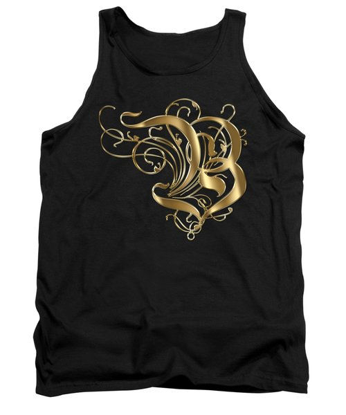 B Ornamental Letter Gold Typography Tank Top