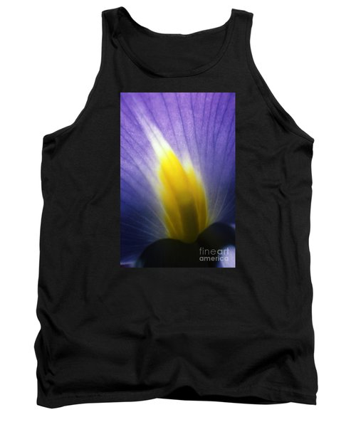 Backlit Iris Flower Petal Close Up Purple And Yellow Tank Top