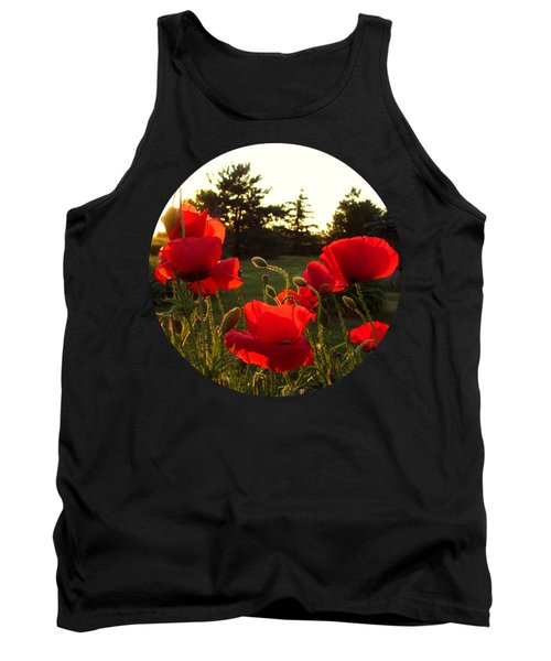 Backlit Red Poppies Tank Top