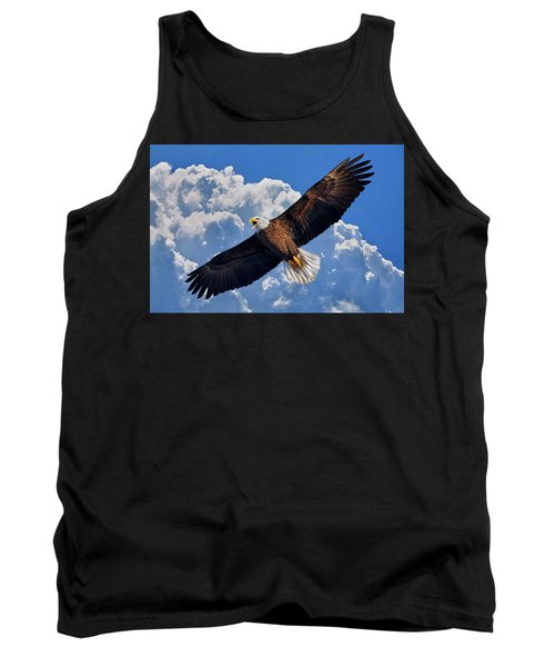 Tank Top featuring the photograph Bald Eagle In Flight Calling Out by Justin Kelefas