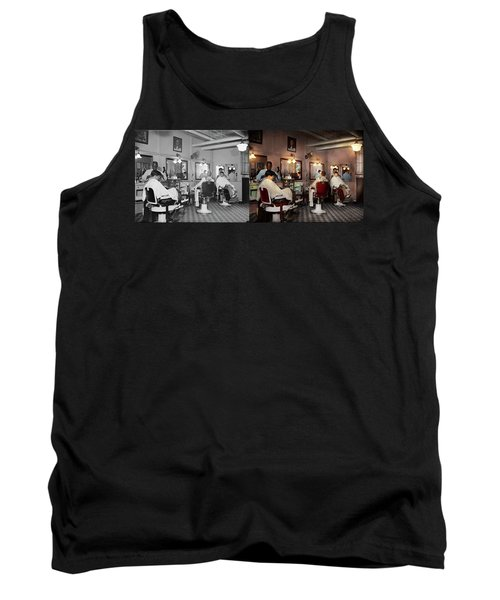 Tank Top featuring the photograph Barber - Senators-only Barbershop 1937 - Side By Side by Mike Savad