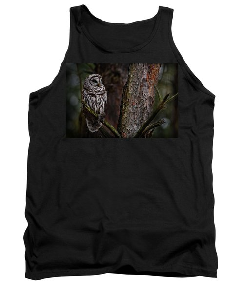 Tank Top featuring the photograph Barred Owl In Pine Tree by Michael Cummings