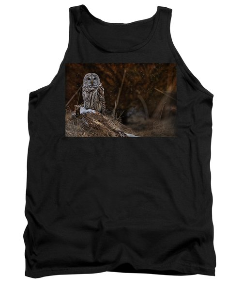 Tank Top featuring the photograph Barred Owl On Log by Michael Cummings