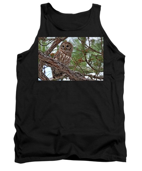 Barred Owl Perched In Tree Tank Top