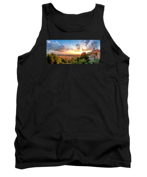 Basilica Of St. Francis Of Assisi At Sunset, Umbria, Italy Tank Top by JR Photography