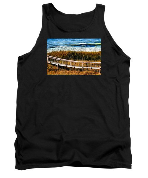 Tank Top featuring the photograph Beach Boardwalk by Laura Ragland