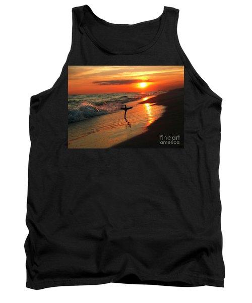 Beach Sunset And Cross Tank Top