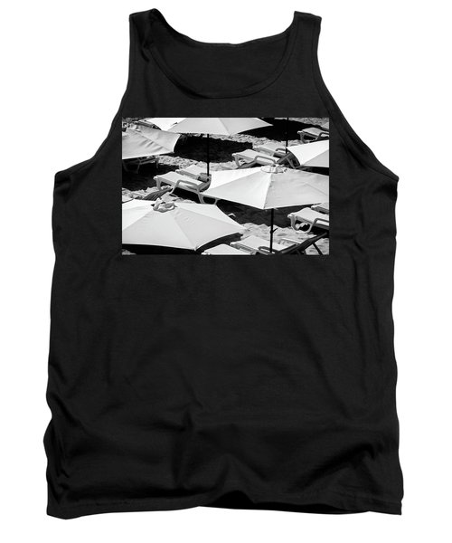 Tank Top featuring the photograph Beach Umbrellas by Marion McCristall