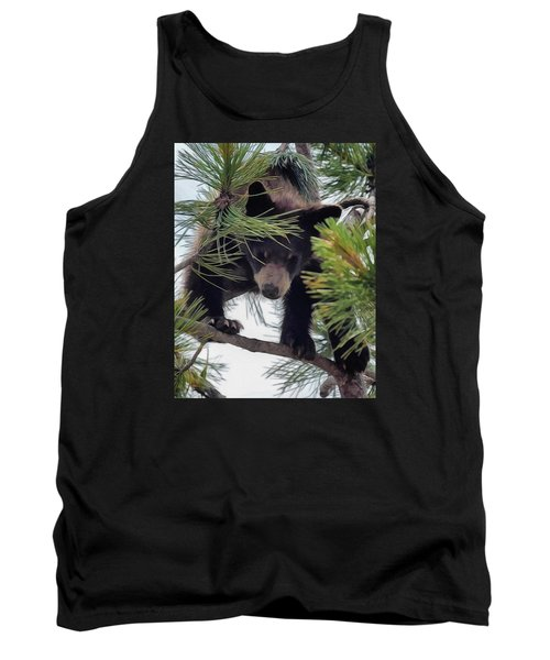 Bear Cub Playing In A Tree 2 Tank Top
