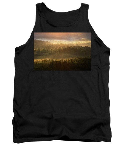 Beautiful Foggy Forest During Autumn Sunrise, Saxon Switzerland, Germany Tank Top