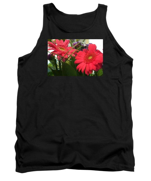 Tank Top featuring the photograph Beautiful Red Daisies by Karen Nicholson