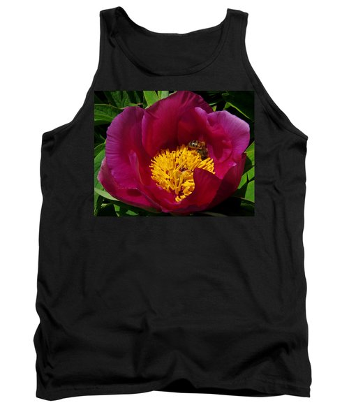 Bee On A Burgundy And Yellow Flower3 Tank Top by John Topman