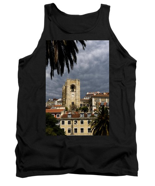 Tank Top featuring the photograph Bell Tower Against Roiling Sky by Lorraine Devon Wilke