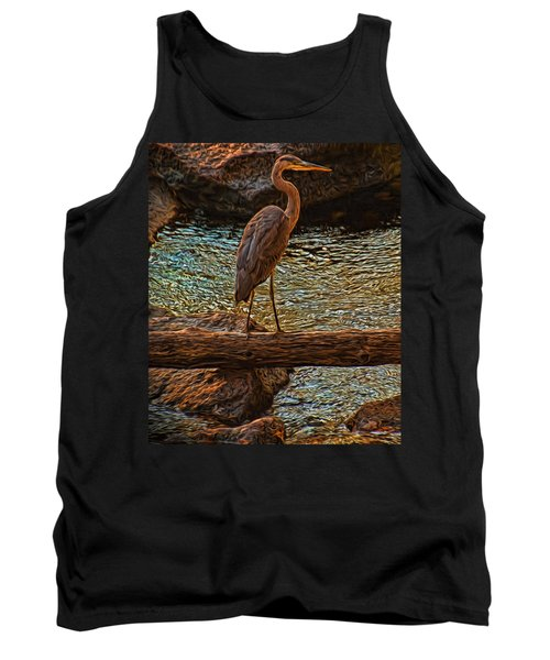 Tank Top featuring the photograph Big Falls Blue Heron by Trey Foerster