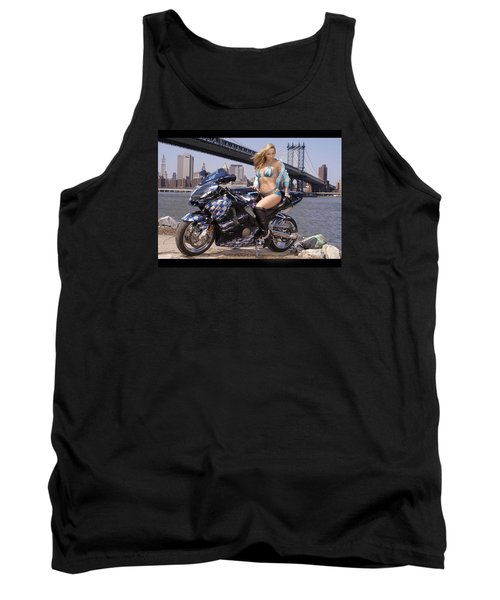 Tank Top featuring the photograph Bike, Babe, And Bridge In The Big Apple by Lawrence Christopher