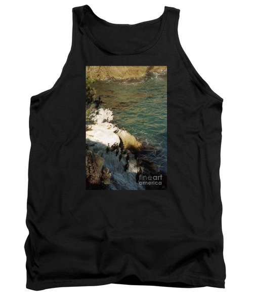 Birds On Rock Above Pacific Ocean Tank Top by Ted Pollard