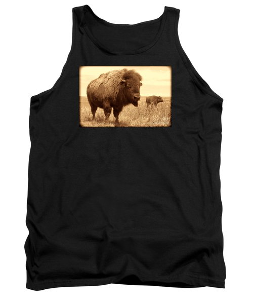 Bison And Calf Tank Top by American West Legend By Olivier Le Queinec