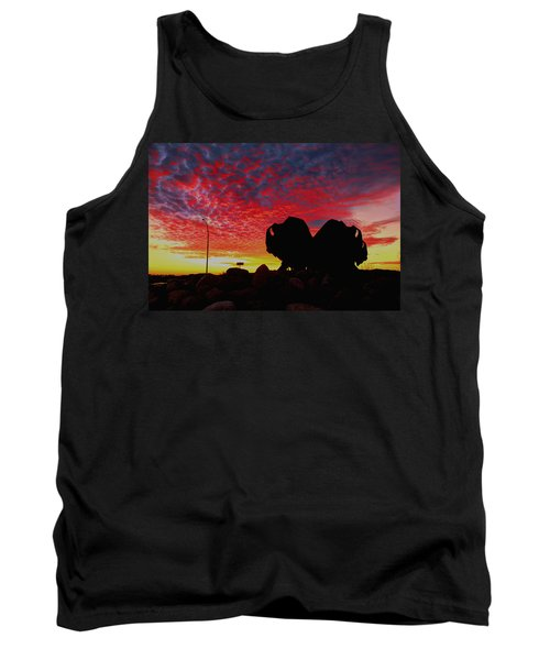 Tank Top featuring the photograph Bison Sunset by Larry Trupp