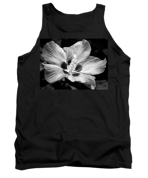 Black And White Hibiscus  Tank Top by Karen Stahlros