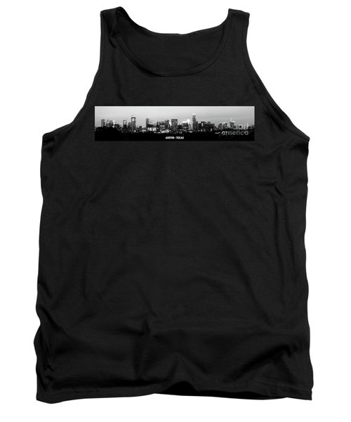Black And White Panoramic View Of Downtown Austin Tank Top
