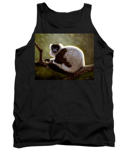 Black And White Ruffed Lemur Tank Top