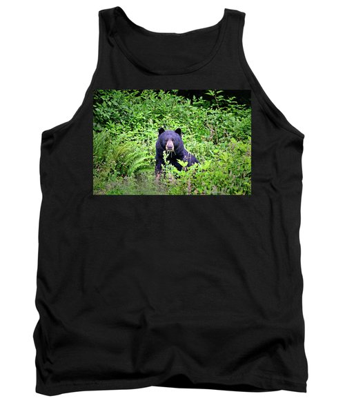 Tank Top featuring the photograph Black Bear Eating His Veggies by Peggy Collins