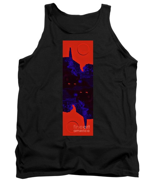 Black Cat Under A Blood Red Moon Tank Top