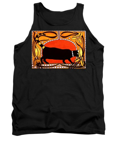 Tank Top featuring the painting Black Cat With Floral Motif Of Art Nouveau By Dora Hathazi Mendes by Dora Hathazi Mendes