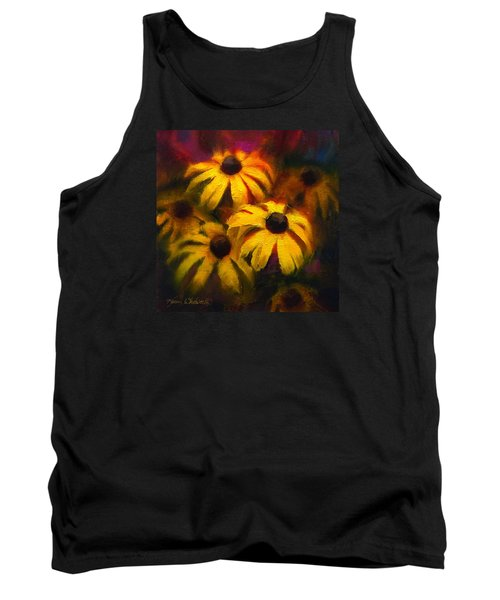 Tank Top featuring the painting Black Eyed Susans - Vibrant Flowers by Karen Whitworth