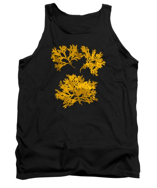 Tank Top featuring the mixed media Black Gold Leaf Pattern by Christina Rollo