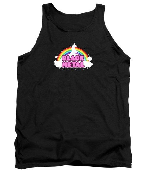 Black Metal Funny Unicorn / Rainbow Mosh Parody Design Tank Top