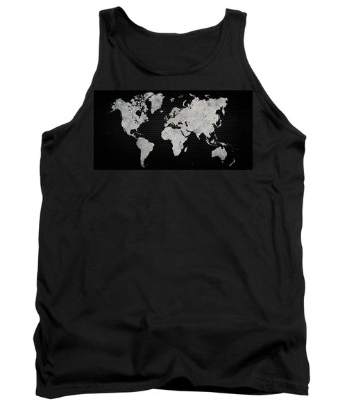 Black Metal Industrial World Map Tank Top by Douglas Pittman