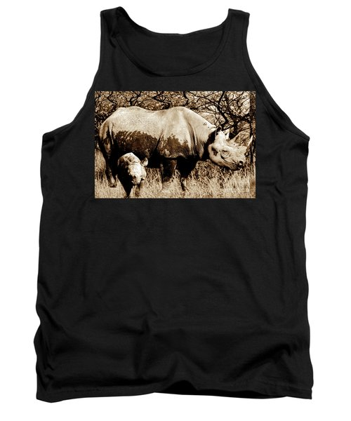 Black Rhino And Youngster Tank Top