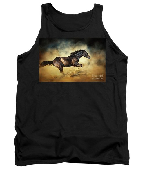 Black Stallion Horse Galloping Like A Devil Tank Top