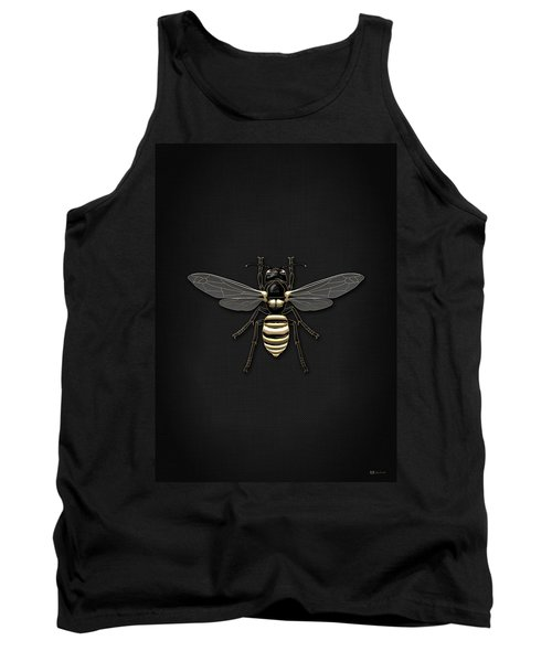 Black Wasp With Gold Accents On Black  Tank Top by Serge Averbukh