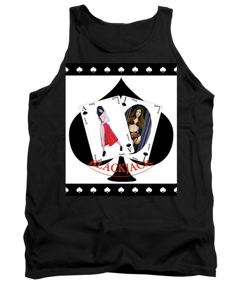 Tank Top featuring the digital art Black Jack Spades by Joseph Ogle