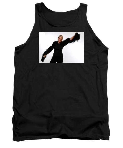 Tank Top featuring the photograph Blonde With Boa by Bob Pardue