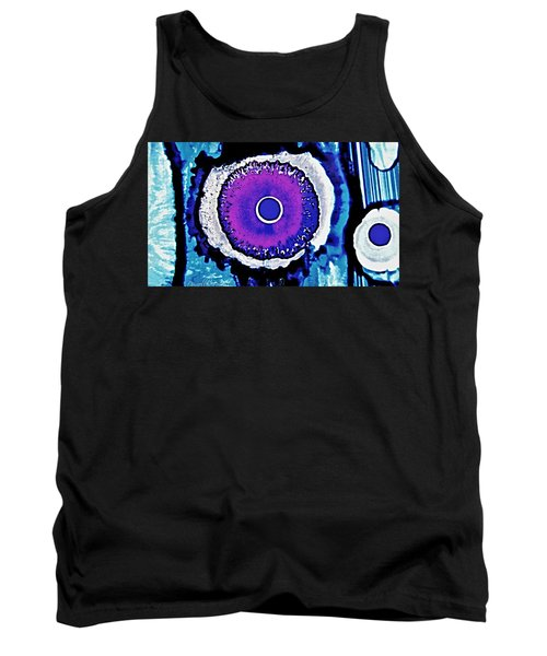 Tank Top featuring the painting Blue Black Purple Nucleus Abstract #2 Alcohol Inks  by Danielle  Parent