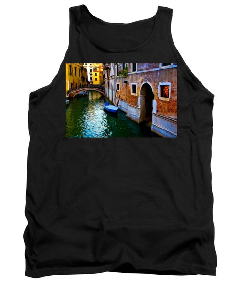 Blue Boat At Twilight Tank Top by Harry Spitz