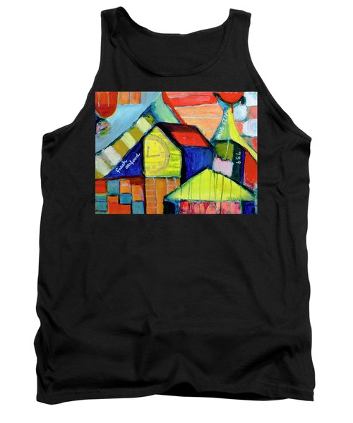 Tank Top featuring the painting Blue Fin's Fresh Seafood by Susan Stone