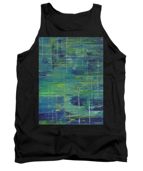 Blue Green Yellow Abstract  Tank Top by Patricia Cleasby
