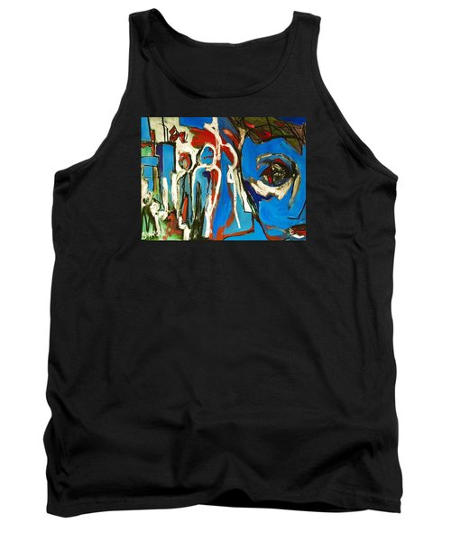 Tank Top featuring the painting Blue by Helen Syron