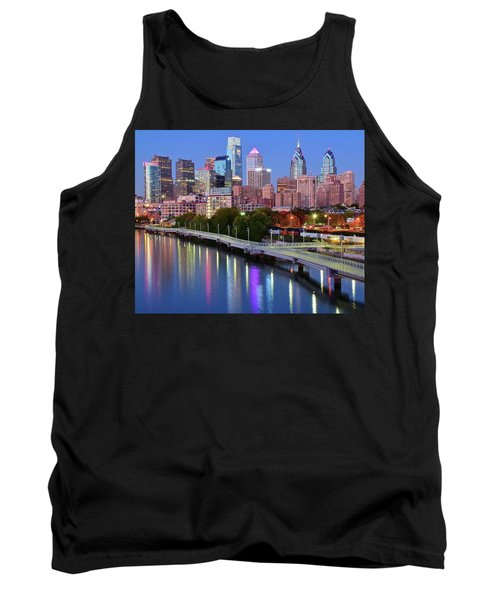 Tank Top featuring the photograph Blue Night Lights In Philly by Frozen in Time Fine Art Photography