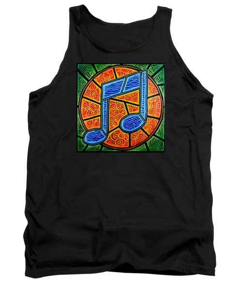 Blue Note On Red Tank Top by Jim Harris