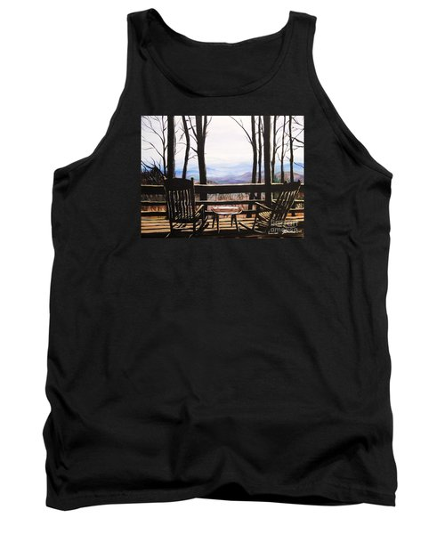 Blue Ridge Mountain Porch View Tank Top by Patricia L Davidson