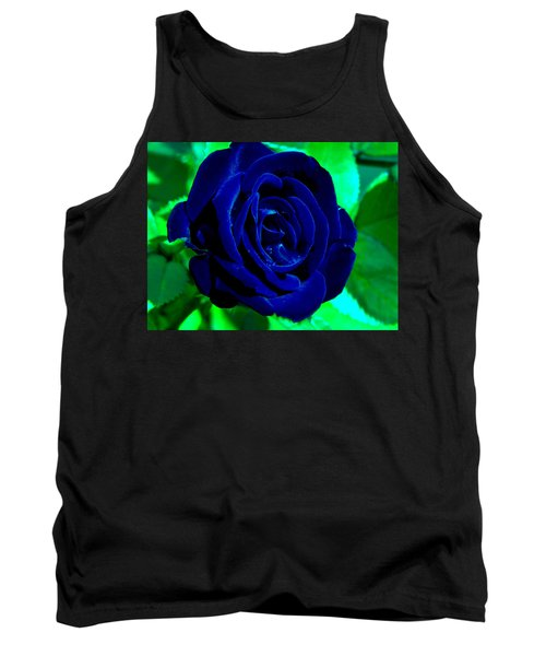 Blue Velvet Rose Tank Top