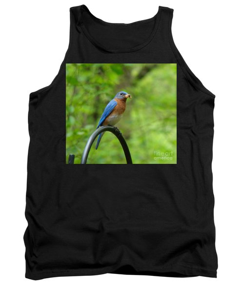 Bluebird Catches Worm Tank Top